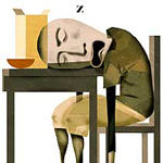 sleeping person at table